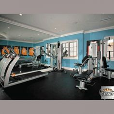 Khloe Kardashian and Lamar Odom's home gym in the house they recently put on the market in Tarzana, CA.