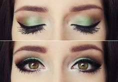 A little too much eyeliner for me but I like the green/brown combo.