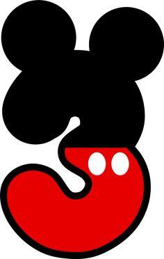Números del 1 al 5 con Pantalón Corto y Orejas de Mickey.