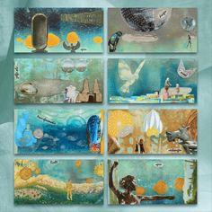 collage van bladzijden uit een miniboekje Collage, Canvas, Painting, Mixed Media, Products, Healing, Wall Canvas, Idea Paint, Traveling