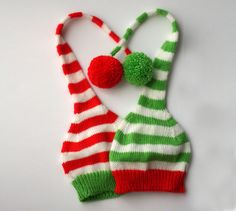 Christmas hat - kids Christmas knitted hat - Santa hat - Red white green stripes - Photo prop - toddler knitted hat by TreMelarance on Etsy https://www.etsy.com/listing/116996039/christmas-hat-kids-christmas-knitted-hat