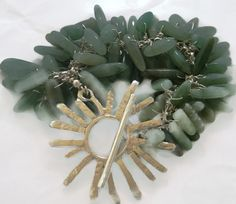 Aventurine  Cluster Bracelet  925 Silver w. Abstract Daisy Clasp