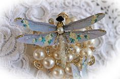 New Listing~Reneabouquets Dragonfly Set Shabby Golden Roses by Reneabouquets  Fall in love with Reneabouquets~ http://www.Reneabouquets.com http://www.etsy.com/shop/Reneabouquets