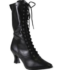 Victorian Boot - Black Faux Leather-Victorian/Formal