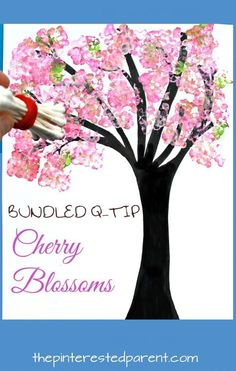 Easy Bundled Q-tip stamped spring Cherry blossom tree paintings. Check out our trees for every season. Winter, spring, summer and fall arts and craft project for kids. Make cherry blossoms or beautiful autumn leaves. Great for toddlers or preschoolers #artsandcraftsfortoddlers,