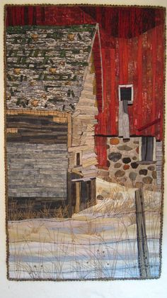 SILENT FAREWELL an art quilt, barn, shed, barbed wire fence, quilt, wall hanging, farm, countryside, art.