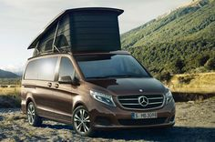 Mercedes-Benz Marco Polo - a luxurious pop top camper with a rear bench that electrically folds flat into a bed and the second berth under the pop-top, an onboard kitchenette with two gas burners, a sink and fridge with a 10 gallons of fresh water and more.