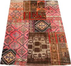 Hand-knotted rug, fashioned from sections of Persian and Afghan antique rugs  ranging from