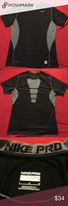 Nike Pro Dri-Fit Top Perfect condition, Nike Pro, Dri-Fit, black and grey top. Size Large Nike Tops Tees - Short Sleeve