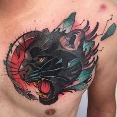 Panther head tattoo on the chest. Big Cat Tattoo, Neo Tattoo, Chest Tattoo, Tiger Head Tattoo, Head Tattoos, Body Art Tattoos, Sleeve Tattoos, Tigre Old School, Black Panther Tattoo