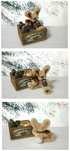 Miniature Pipe Cleaner Bunny in a Crate with Pine Cones