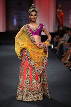 Multicolor bridal lehenga. Latest lakme Fashion Week 2013 Bridal Wear #LakmeFashionWeek2013