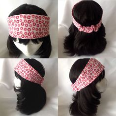 This lovely pink, red and white floral print broad and tapered headband is made of 100% cotton, which makes it light and breathable and perfect for the spring and summer. This headband can comfortably accommodate head circumferences of 21 to 23 inches depending on hair thickness. Sizing in fabric has already been removed. The main portion of the headband measures about 3.5 inches at its widest point and about 2.75 inches at its narrowest for the back portion.