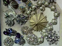 Rhinestone jewelry lot for sale on ebay now!