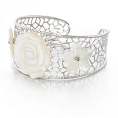 Belk  Co. White Sterling Silver White Mother Of Pearl Flower Bracelet ($333) ❤ liked on Polyvore featuring jewelry, bracelets, white, flower jewellery, flower bangle, mother of pearl jewelry, white bangle and blossom jewelry