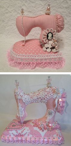 Sweet sewing machine pincushions! :):