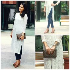 Check out this post - White Kurti + Denims. created by Neha Yadav and top similar posts, trendy products and pictures by celebrities and other users on Roposo. Indian Attire, Indian Wear, Indian Outfits, Stylish Kurtis Design, Stylish Dress Designs, White Kurta, White Anarkali, Kurti With Jeans, Kurti Styles