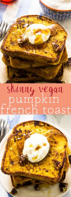 This Skinny Vegan Pumpkin French Toast is only 90 calories per slice! It's insanely delicious, healthy, nutritious and loaded with pumpkin flavour! via http://jessicainthekitchen.com