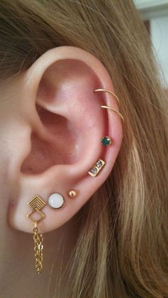Delicate Multiple Ear Piercing Ideas at MyBodiArt.com
