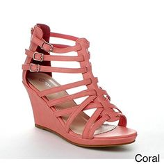 cfe2ea49b024 Top Moda Womens Denver-1 Gladiator Wedge Heel Sandals