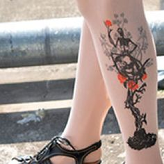 Tattoo Stockings Woman Shadow Unisex Stretchy Sexy Stockings 1 PAIR | Balli Gifts