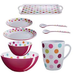 I quite like this pink spotty melamine from lakeland - might be lighter and more sensible than enamel.