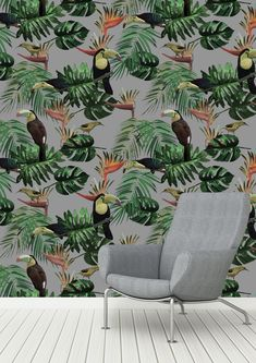 Elspeth Dally 'Toucan and the Bee Catcher' Mist Grey Wallpaper designed for Graduate Collection Tropical Wallpaper, Bird Wallpaper, Grey Wallpaper, Wallpaper Paste, Wallpaper Roll, Mustard Wallpaper, Animal Wallpaper, Bee Catcher, Designer Wallpaper
