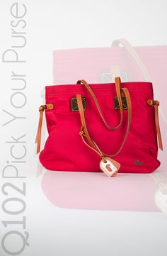 Dooney & Bourke - Victoria Tote in Red. Go to wkrq.com to find out how to play Q102's Pick Your Purse!