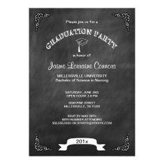 Modern Chalkboard Graduation Party Invite