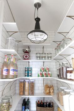 Pantry Renovation- love the tiles, and simple white with copper look