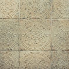 Bring a classic look to your flooring with the addition of this durable Merola Tile Saja Blanco Ceramic Floor and Wall Tile. Tin Tiles, Tin Ceiling Tiles, Mosaic Tiles, French Country Kitchens, Country Bathrooms, Kitchen Flooring, Kitchen Backsplash, Backsplash Ideas, Tile Ideas