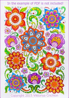 Coloring page PDF adults and children printable by ZentangleHouse Adult Coloring Book Pages, Flower Coloring Pages, Coloring Books, Pen Doodles, Flower Doodles, Doodle Flowers, Mandala Doodle, Mandala Drawing, Doodle Coloring