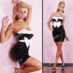 d446ee0b1b3 White Bowknot Pattern Sleeveless Backless Tube Dress One-piece Dress Night  Club Cloth for Lady