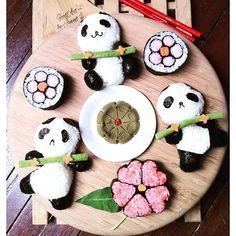 【jannet65】さんのInstagramをピンしています。 《Playing pandas for today's demo. Thanking the Lord for always blessing the work of hands. #foodart #foodartbyjannet #panda #pandas #kazarimakisushi #kawaiidecosushi #maki #sushi #japanese #art #craft #foodstagram #wheninmanila #gourmanila #cherryblossoms #bento #wasabi #demo #workshop #gourdos》