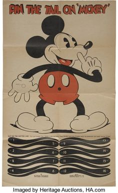 """Memorabilia:Disney, Mickey Mouse """"Pin the Tail on Mickey"""" Party Game (Marks Brothers,1934)...."""