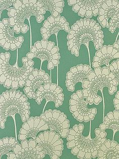 Florence Broadhurst 'Japanese Floral' BO96 wallpaper in sage green on cream silk 10m roll