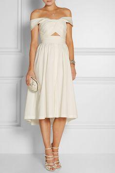 Lela Rose|Pleated stretch-cotton poplin dress|NET-A-PORTER.COM