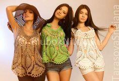 Пляжная модная туника с открытой спиной | Вязание для женщин | Вязание спицами и крючком. Схемы вязания.