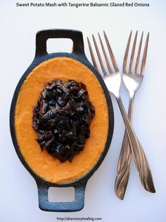 Sweet Potato Mash with Tangerine Balsamic Glazed Red Onions is so delicious! Try it for your Thanksgiving celebrations or with any meal.  #sweetpotato #recipes