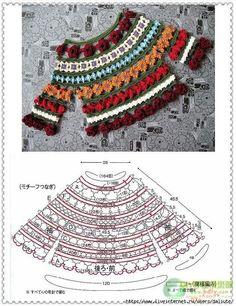 Blog: Ksart Tricô e Crochê by Ana Rita: Passo a passo: Blusa de Flores - com gráfico