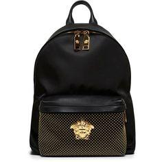 Versace Black Nappa Leather Backpack My Bags, Purses And Bags, Fashion Bags, Fashion Backpack, Versace Backpack, Mode Hip Hop, Mini Mochila, Versace Handbags, Beastie Boys