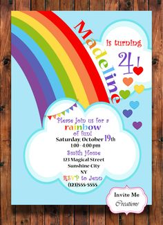 Rainbow Hearts Birthday Invitation, Rainbow Celebration Theme, Custom, Hearts, Clouds, Party, Digital File, DIY, Cute, Adorable, Fun Invi