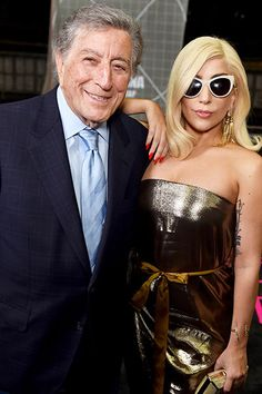 Tony Bennett and Lady Gaga pose backstage during a pre-#Grammys Awards event at the Staples Center on Feb. 5, 2015 in Los Angeles, California.