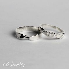 Wedding Ring Set His and Her Promise Rings Couples by JewelryRB