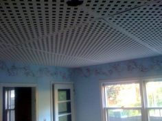 Lattice Ceiling, also known as the world's worst design decision. Interesting idea…Lattice ceiling for unfinished basement. Maybe on concrete walls? Basement Ceiling Insulation, Unfinished Basement Ceiling, Basement Ceiling Options, Flooded Basement, Basement Gym, Basement Laundry, Basement Makeover, Basement Apartment, Basement Bedrooms