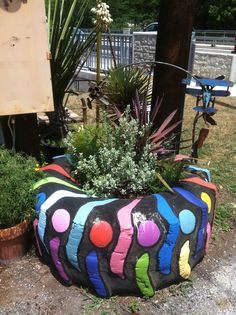 Colorful tire planter