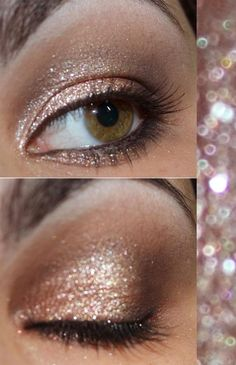 Looking for a way to get your eyes this sparkly? Try Jane Iredale eye gloss as a primer and layer 24k Gold Dust in Champagne or Bronze over it. Gorgeous! Available at Mirror Mirror Salon  Spa  only in here http://designingweddings.net