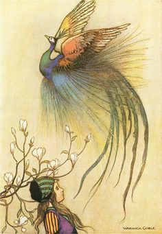 Out of the fire flew a beautiful bird, who, singing deliciously, rose up high in the air.  - Illustration by Warwick Goble to The Juniper Tree
