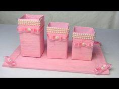 Artesanato com rolo de papel - Organizador e Porta Pulseiras - Duas ideias para você fazer - YouTube