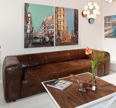 Sofa Cubetto Leder braun - 7